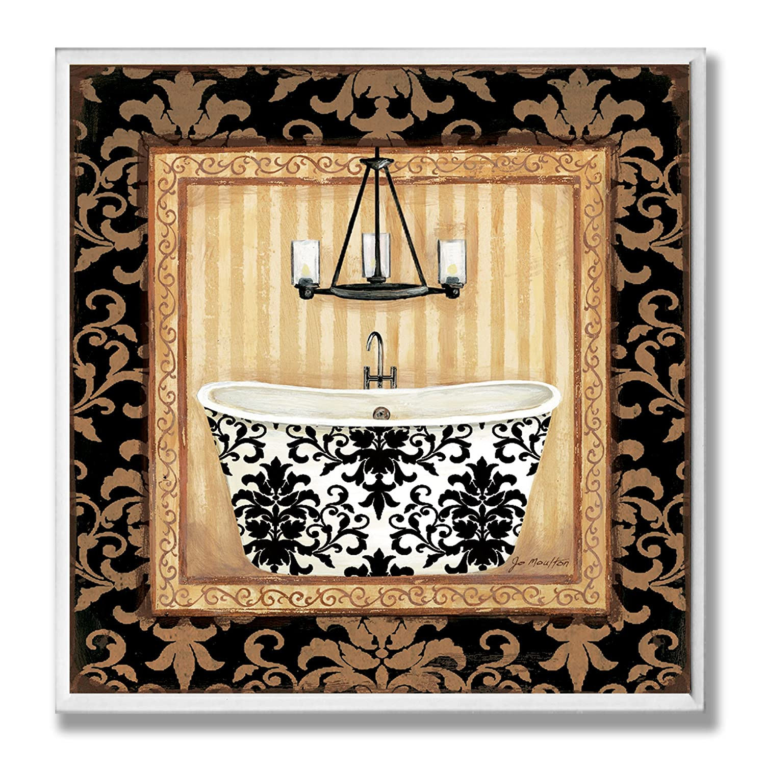 The Stupell Home Decor Collection Vanity with Black Floral Floor Bathroom Wall Plaque
