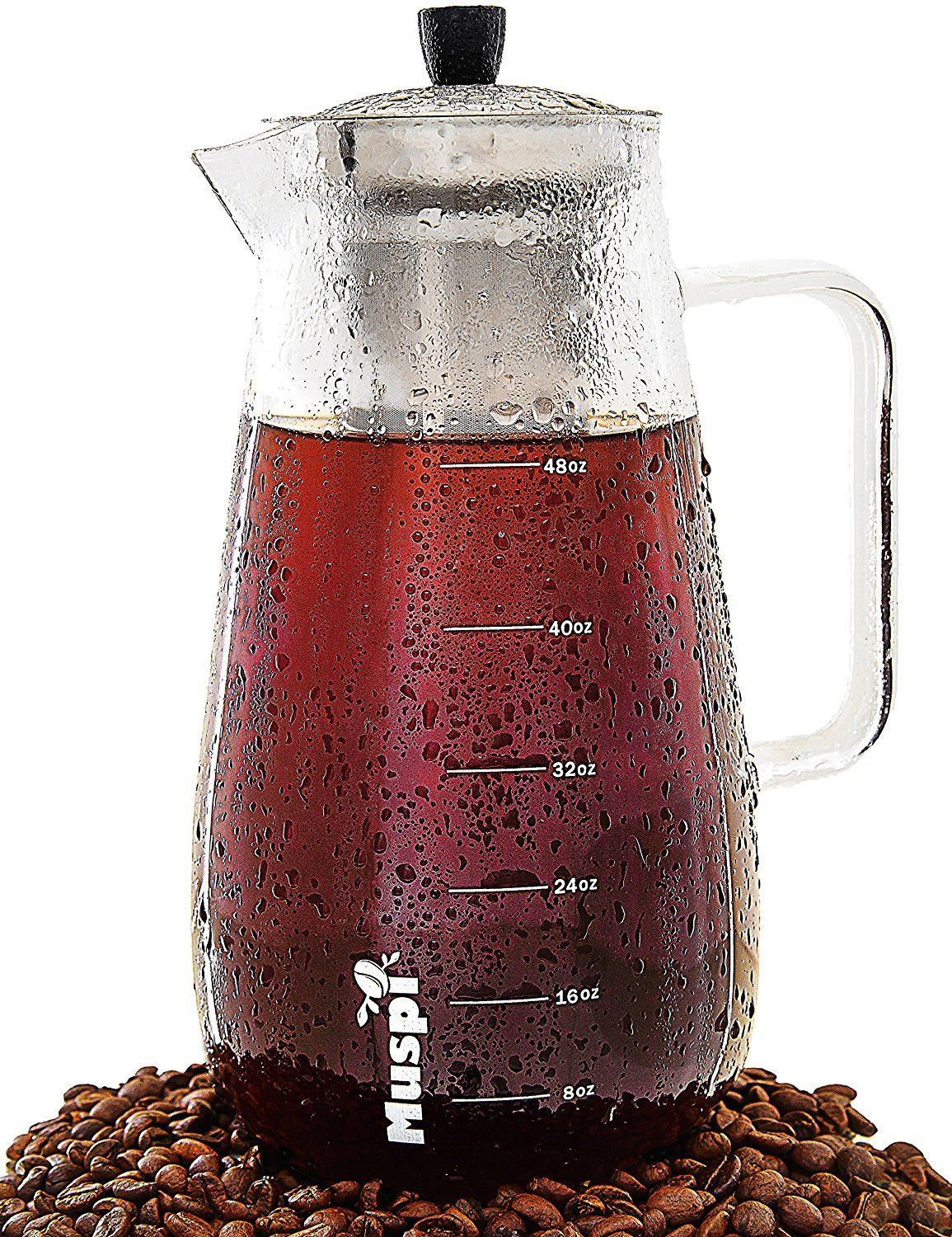 Cold Brew Coffee Maker by Muspi – Better-Tasting, Smoother & More Flavourful Brew – Superior Alternative to an Iced Coffee Maker or Cold Drip Coffee Maker Style – Large Decanter (48 Oz) Mi2