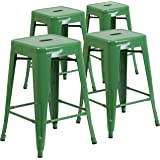 Flash Furniture 4 Pk. 24'' High Backless Green Metal Indoor-Outdoor Counter Height Stool with Square Seat