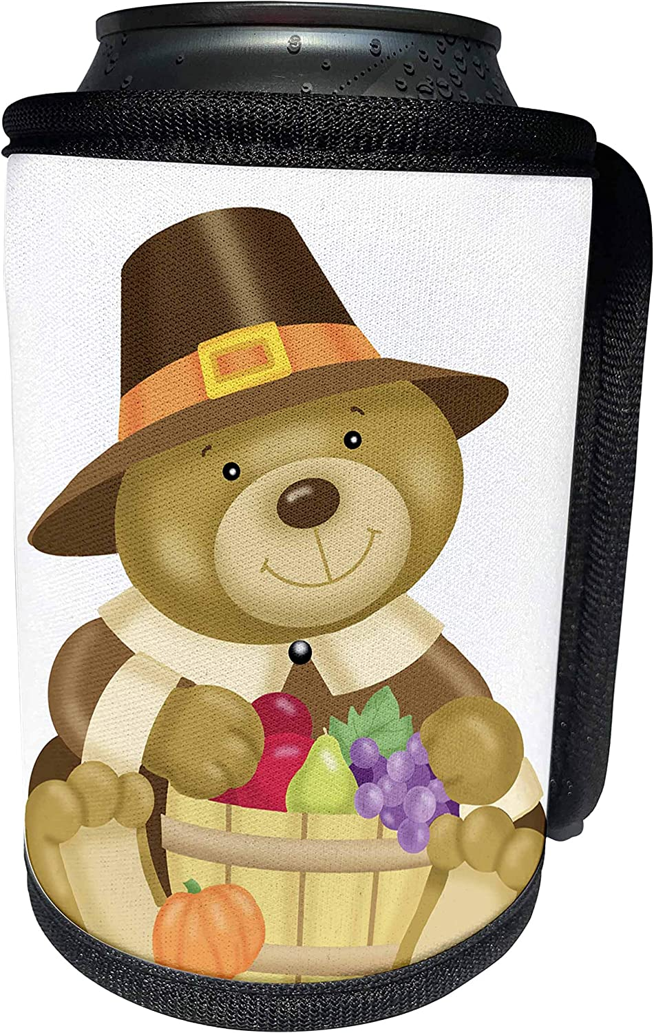 3dRose Anne Marie Baugh - Thanksgiving - Cute Thanksgiving Bear With A Barrel Of Fall Food Illustration - Can Cooler Bottle Wrap (cc_216823_1)