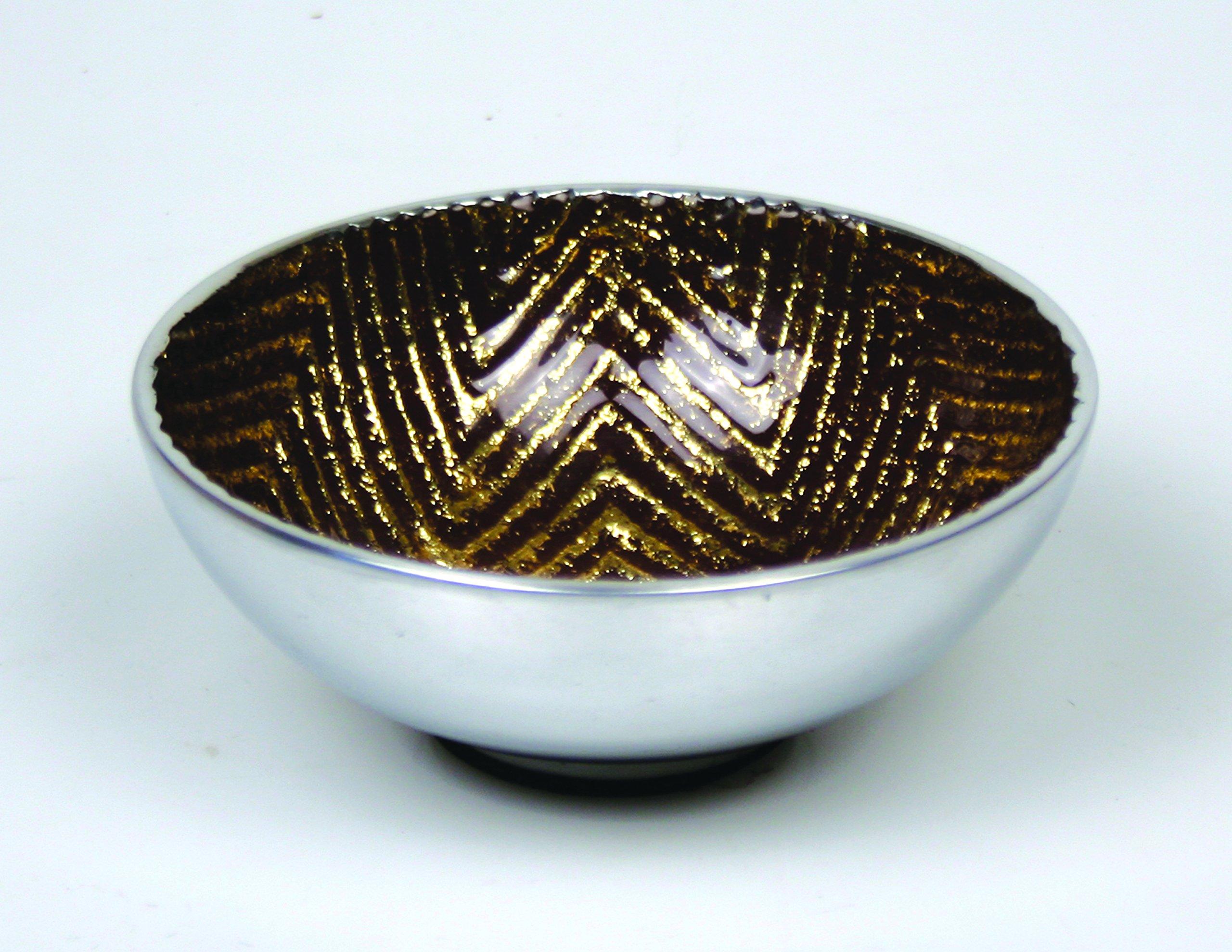 Jodhpuri Chevron Decorative Bowl, Brown & Gold