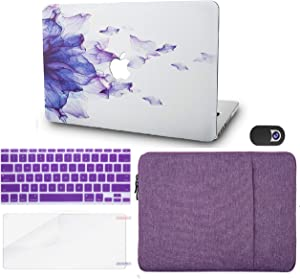 """KECC Laptop Case for MacBook Pro 13"""" (2020/2019/2018/2017/2016,Touch Bar) w/Keyboard Cover + Sleeve + Screen Protector + Webcam Cover (5 in 1) A2159/A1989/A1706/A1708 (Purple Flower)"""