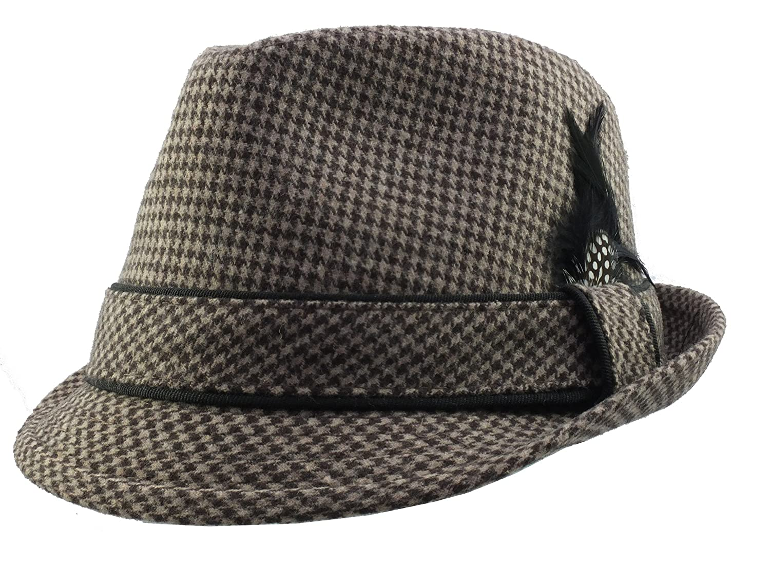 Mens Retro Dogtooth Fedora Style Hat