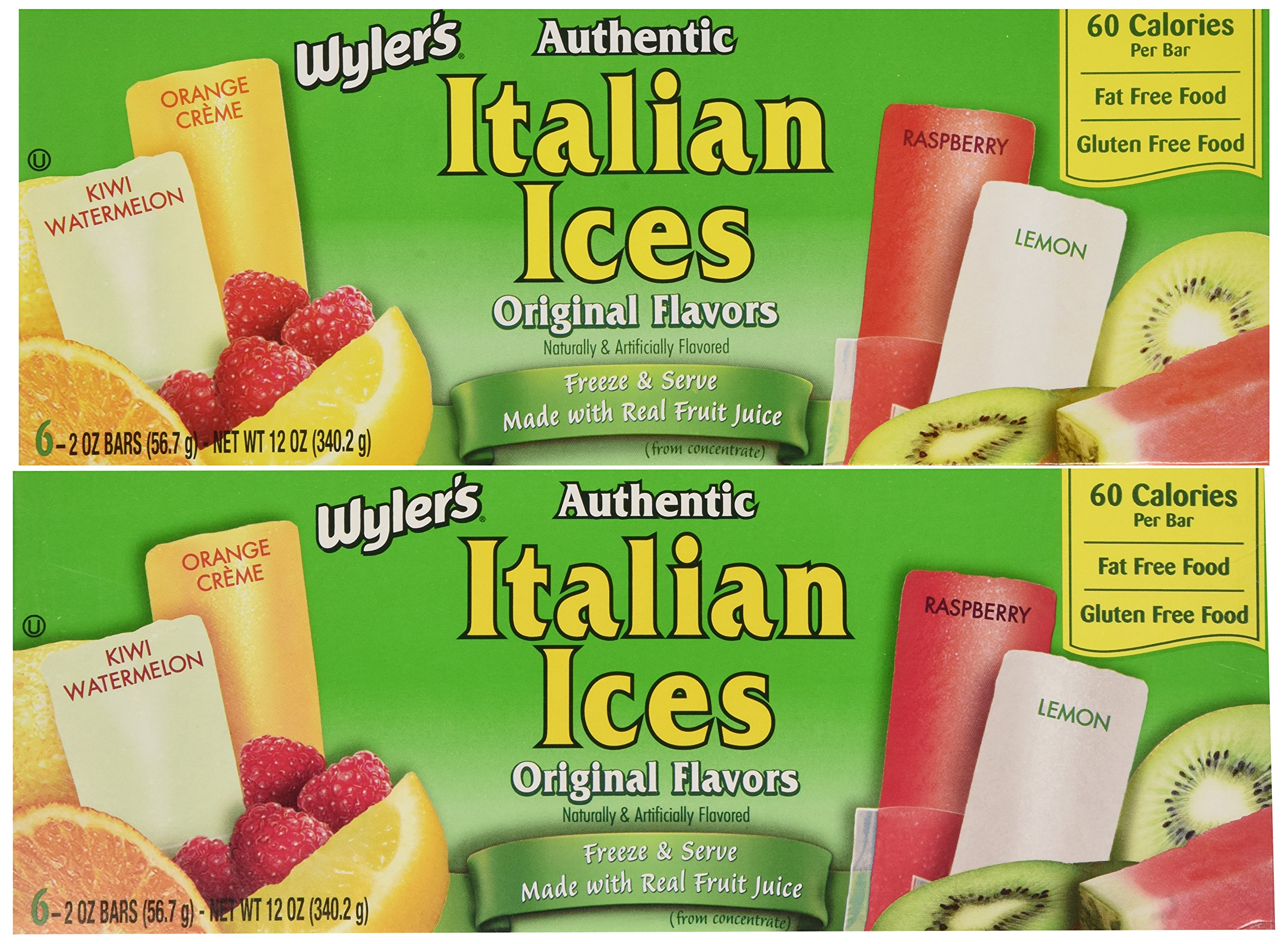 Wyler's Authentic Italian Ice Freezer Bars, 6-Count (Pack of 4)