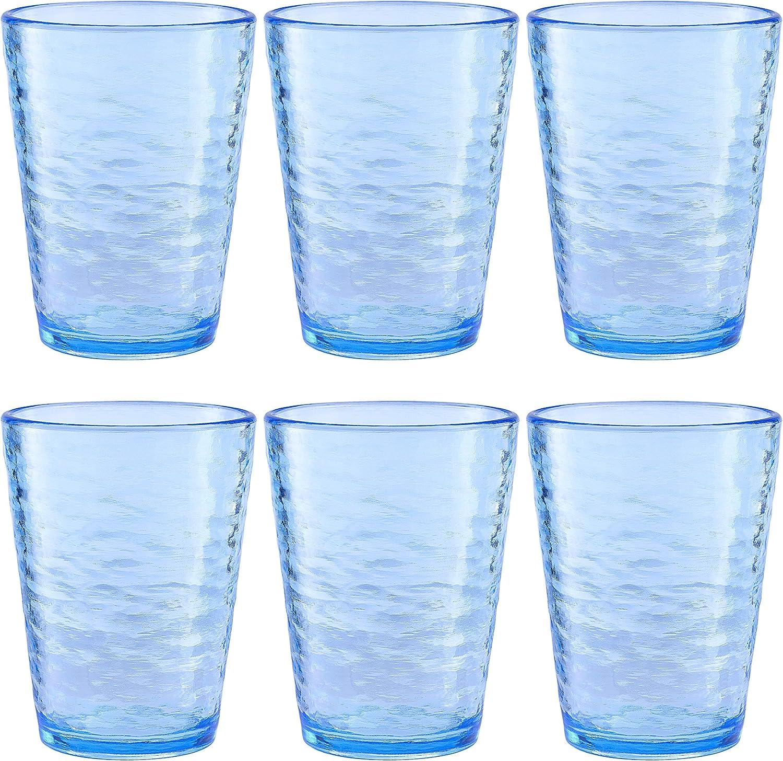 KLIFA- Premium Acrylic Drinking Glass, Set of 6, 16 oz, BPA-Free, Stackable, Ocean Blue