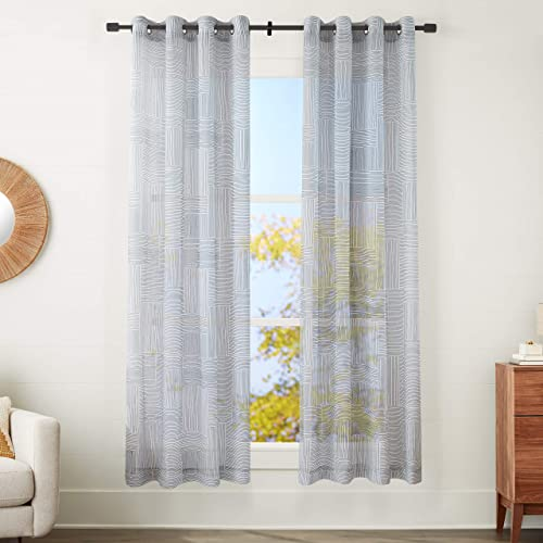 AmazonBasics Sheer Window Panel Pair with Grommets – 50 x 95 , Painterly Grid Grey and White