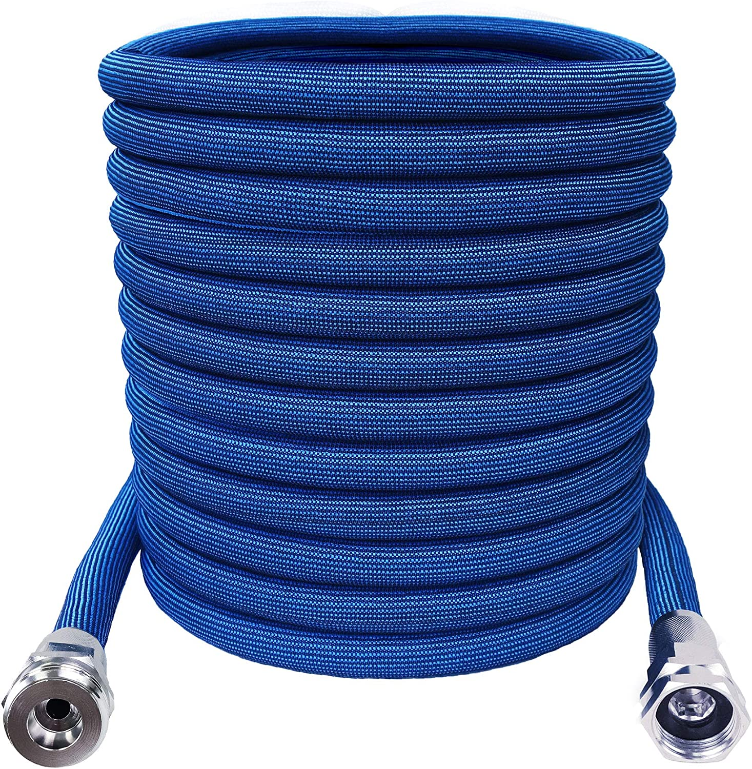 H2O WORKS Expandable Garden Hose 25FT Pocket Hose to 50FT Flex Hose with Strong Crush-Resistant Aluminum Connectors, Flexible, Lightweight Blue Garden Hoses No Kink Silver Bullet Hose, Car Wash Hose