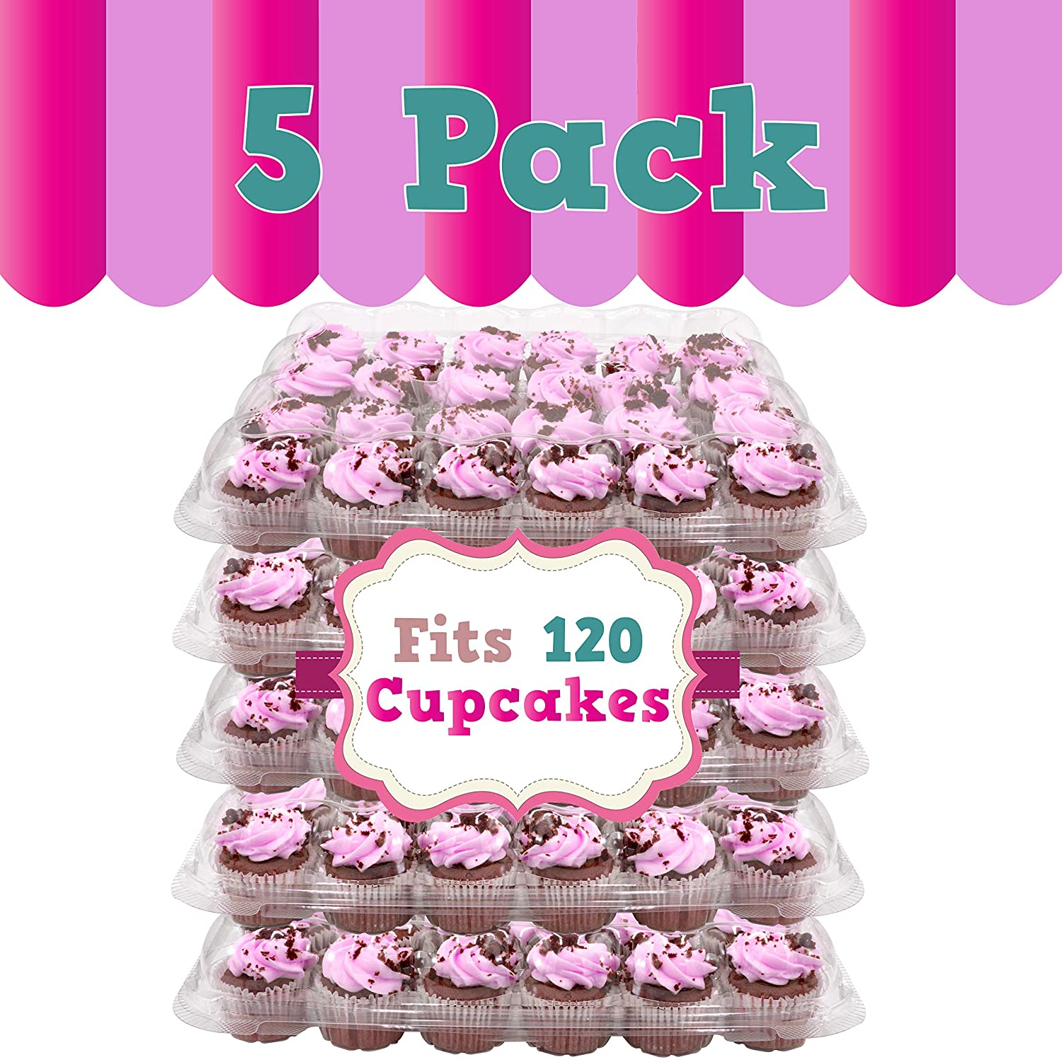 Perfect for Transporting Standard Size Muffins or Cupcakes Upper Midland Products 24 Slots Cupcake Containers Holders Set of 5 Plastic High Dome Cupcake Boxes for Tall Icing