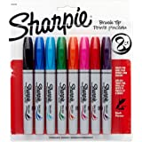 Sharpie Brush Tip Permanent Markers, 8 Colored Markers (1810703)