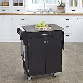 Create-a-Cart Black 2 Door Kitchen Cart with Stainless Steel Top by Home  Styles
