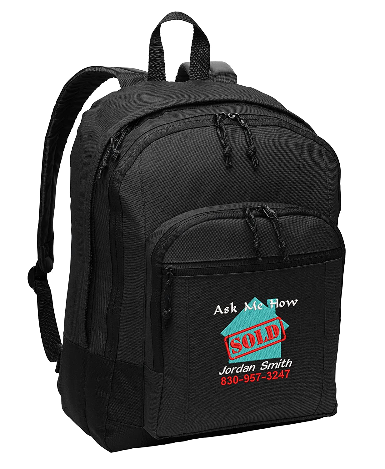 Sold - Ask Me How Real Estate Personalized Embroidered Back Pack