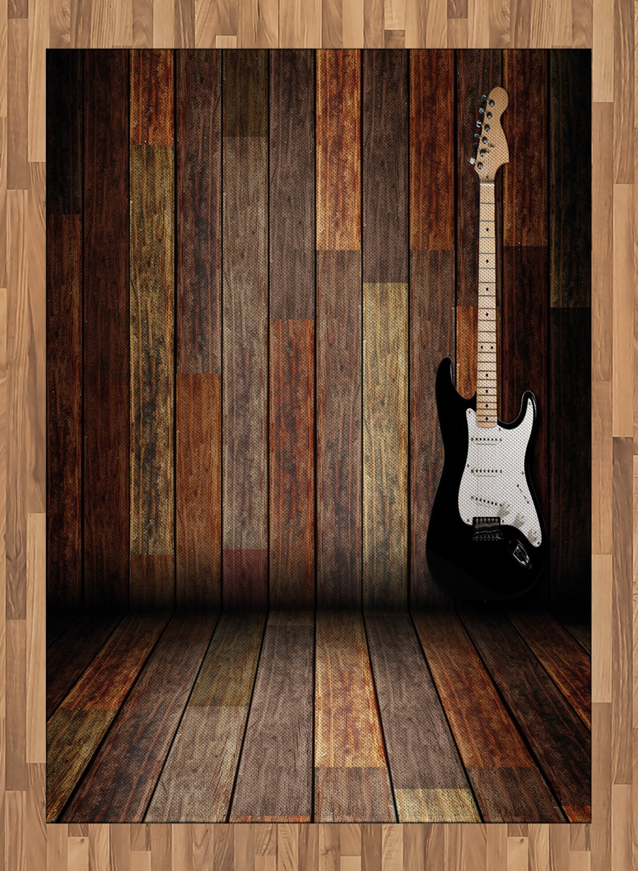 Popstar Party Area Rug by Ambesonne, Electric Guitar in the Wooden Room Country House Interior Music Theme, Flat Woven Accent Rug for Living Room Bedroom Dining Room, 5.2 x 7.5 FT, Brown Black White