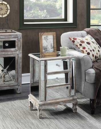 Convenience Concepts Gold Coast Collection 3 Drawer Mirrored End Table,  Weathered White/Mirror