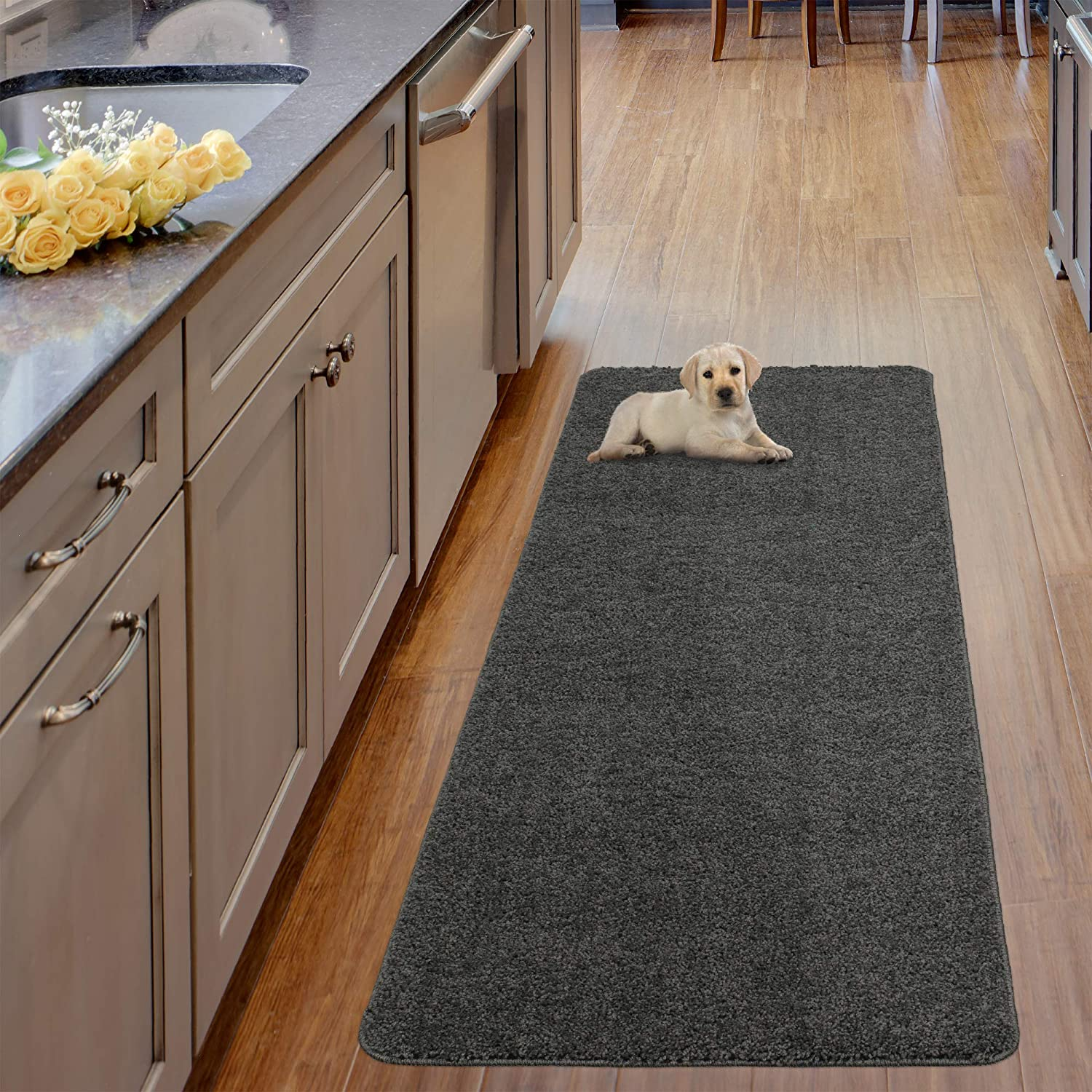 """Ottomanson Luxury Collection Solid Runner Rug with Non-Slip/Rubber-Backing Bath Rug, 20"""" X 59"""", Grey"""