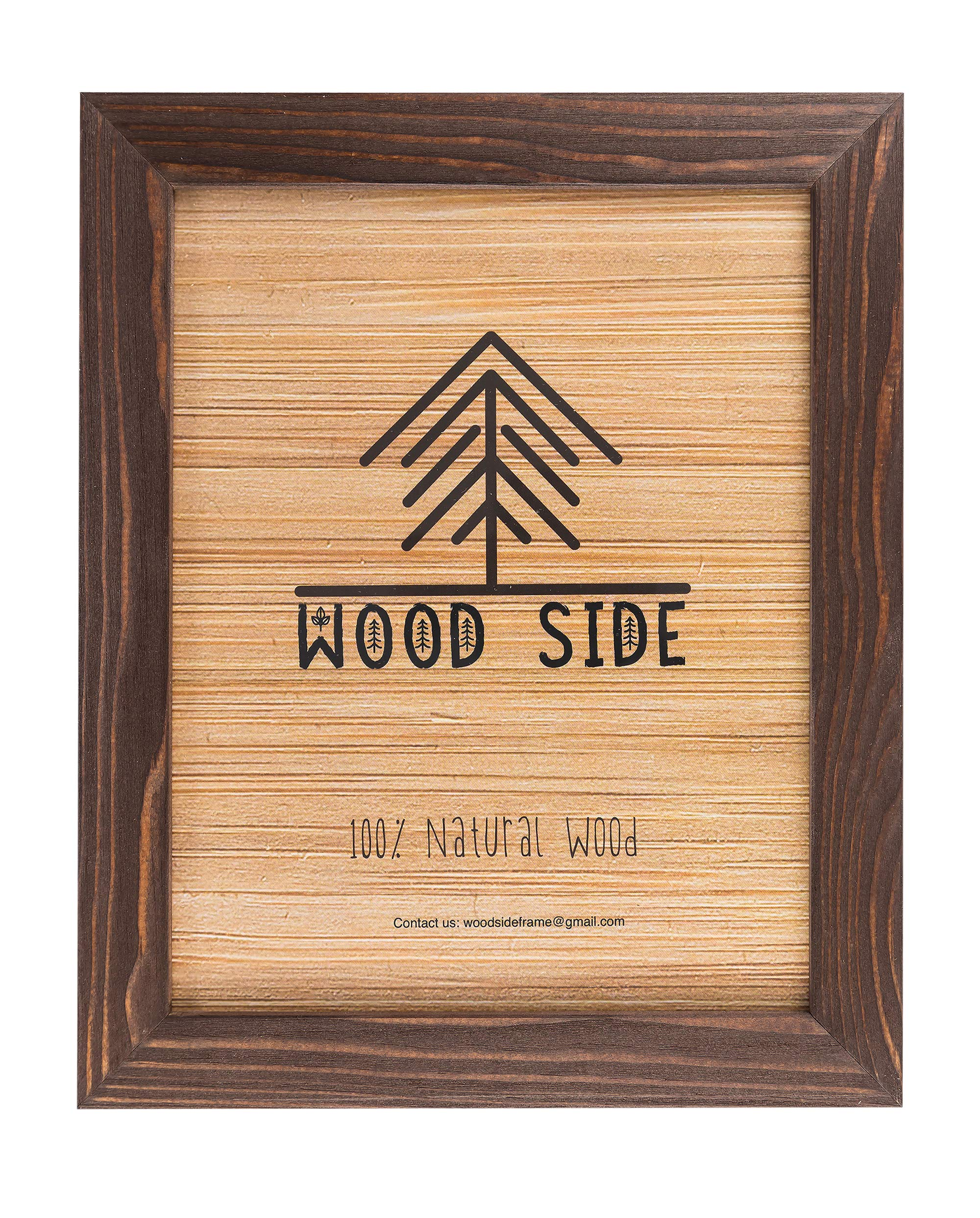 Rustic Wooden Picture Frame 8x10-100% Natural Eco Solid Distressed Wood for Wall Mounting Photo Frame - Brown Wenge by Wood Side Orbis