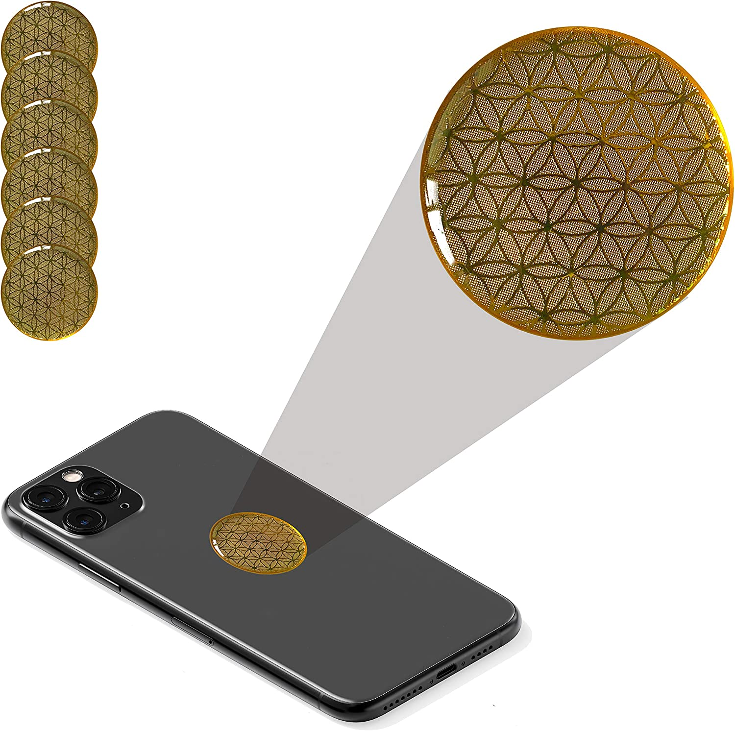 EMF Protector Sticker Anti Radiation 6 Pack for Cell Phone and Laptop with Flower of Life Symbol. Electro Magnetic Field Blocker for Smartphone.