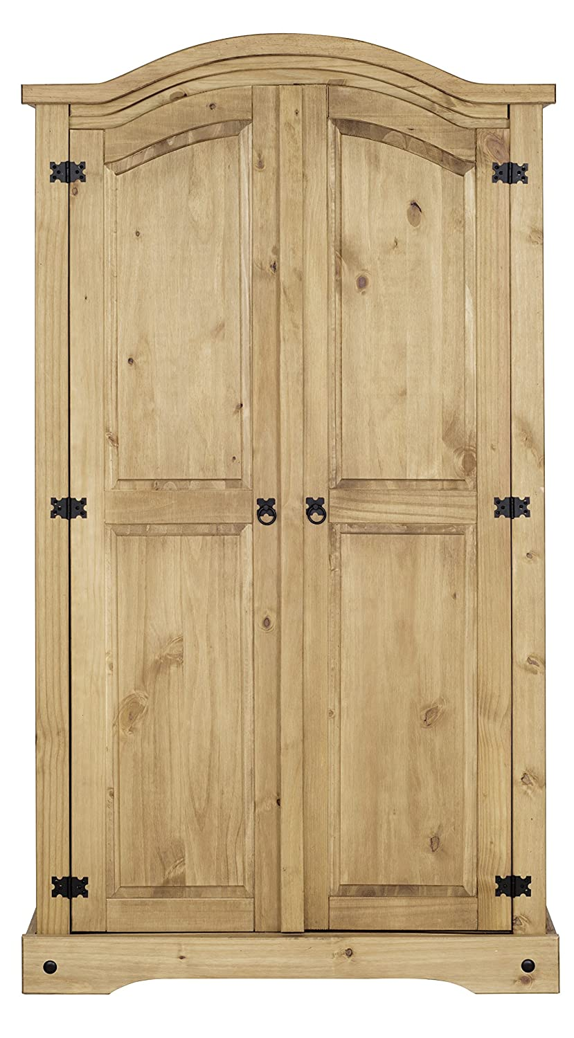 Corona 2 Door Wardrobe, Solid Wood, Distressed Waxed Pine 100-101-022