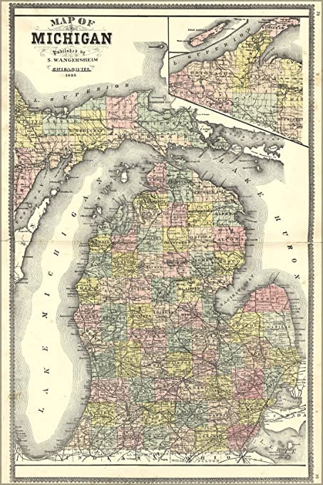 Amazon Com 24x36 Poster 1895 Map Of Michigan Reproduction