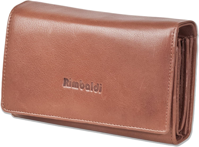Rimbaldi®–Monedero con mucho espacio, piel natural de vaca, marrón (marrón) - 2051607