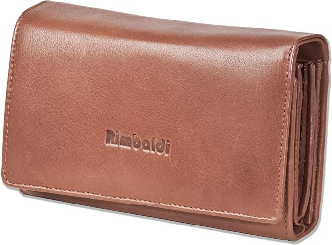 Marron - 2051607 Rimbaldi/®/Portefeuille compact pour femme avec beaucoup de place en cuir de vachette naturel marron
