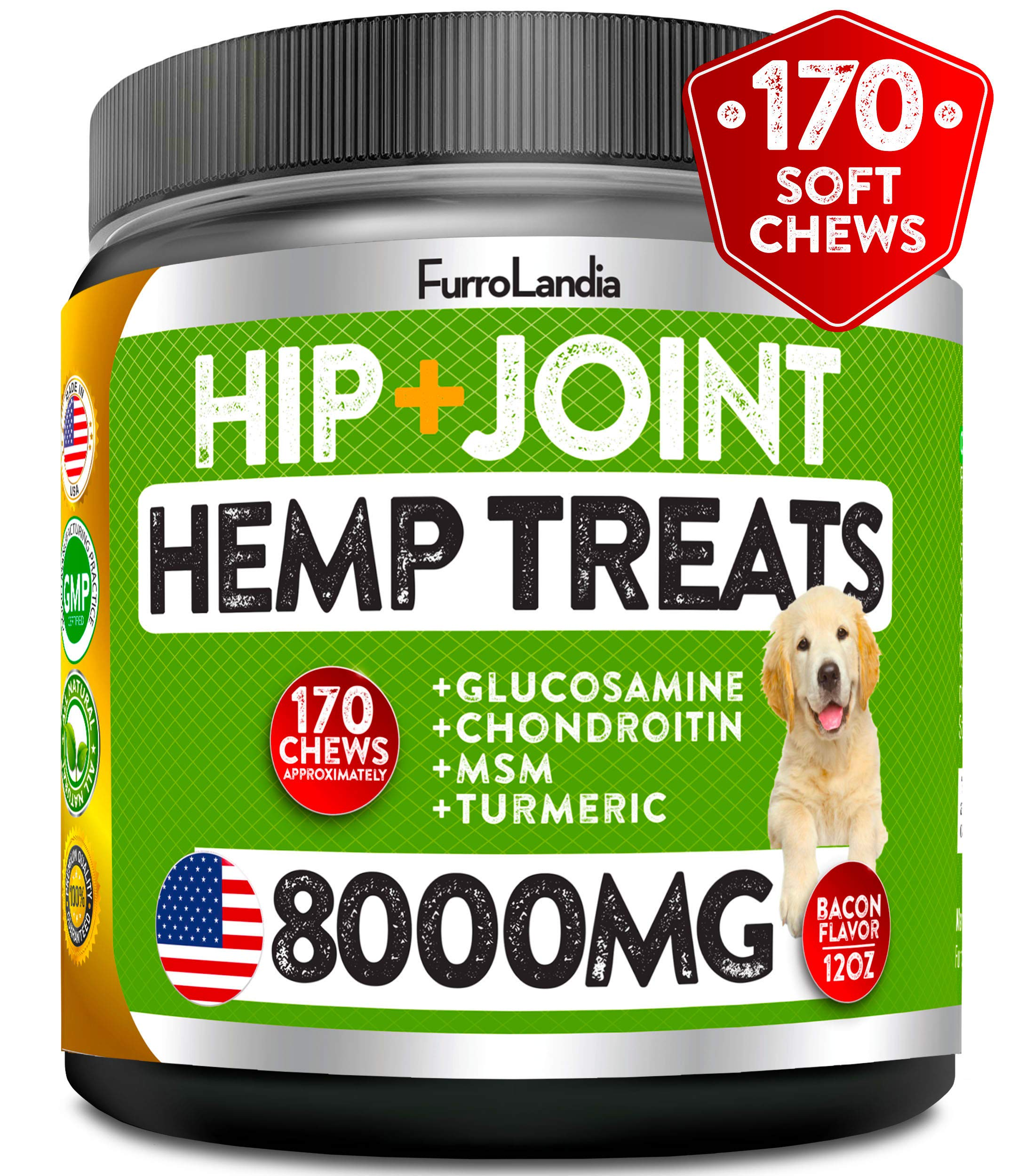 FurroLandia Hemp Hip & Joint Supplement for Dogs - 170 Soft Chews - Made in USA - Glucosamine for Dogs - Chondroitin - MSM - Turmeric - Hemp Seed Oil - Natural Pain Relief & Mobility by FurroLandia