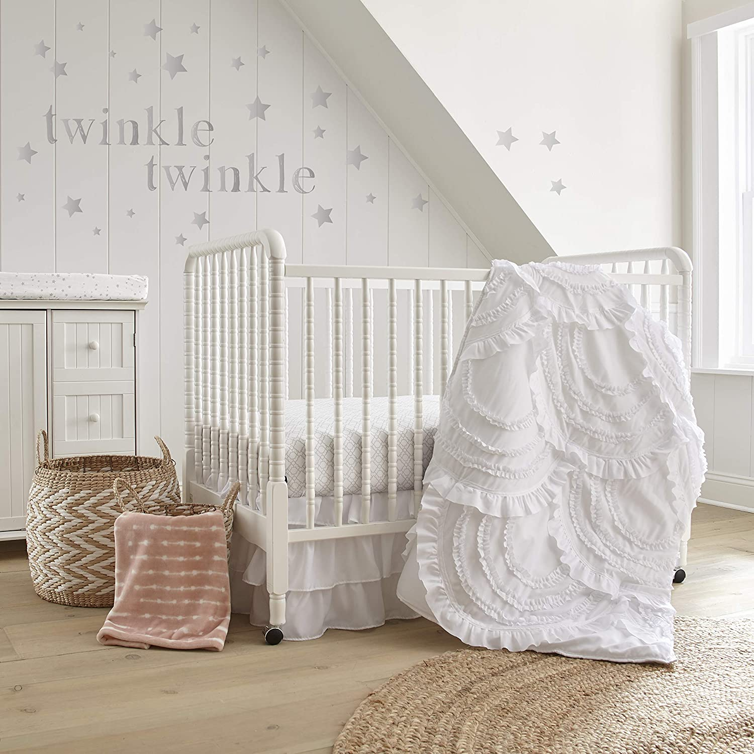 Girl's and Boy's Bedding All White Crib Set with Ruffled Dtails