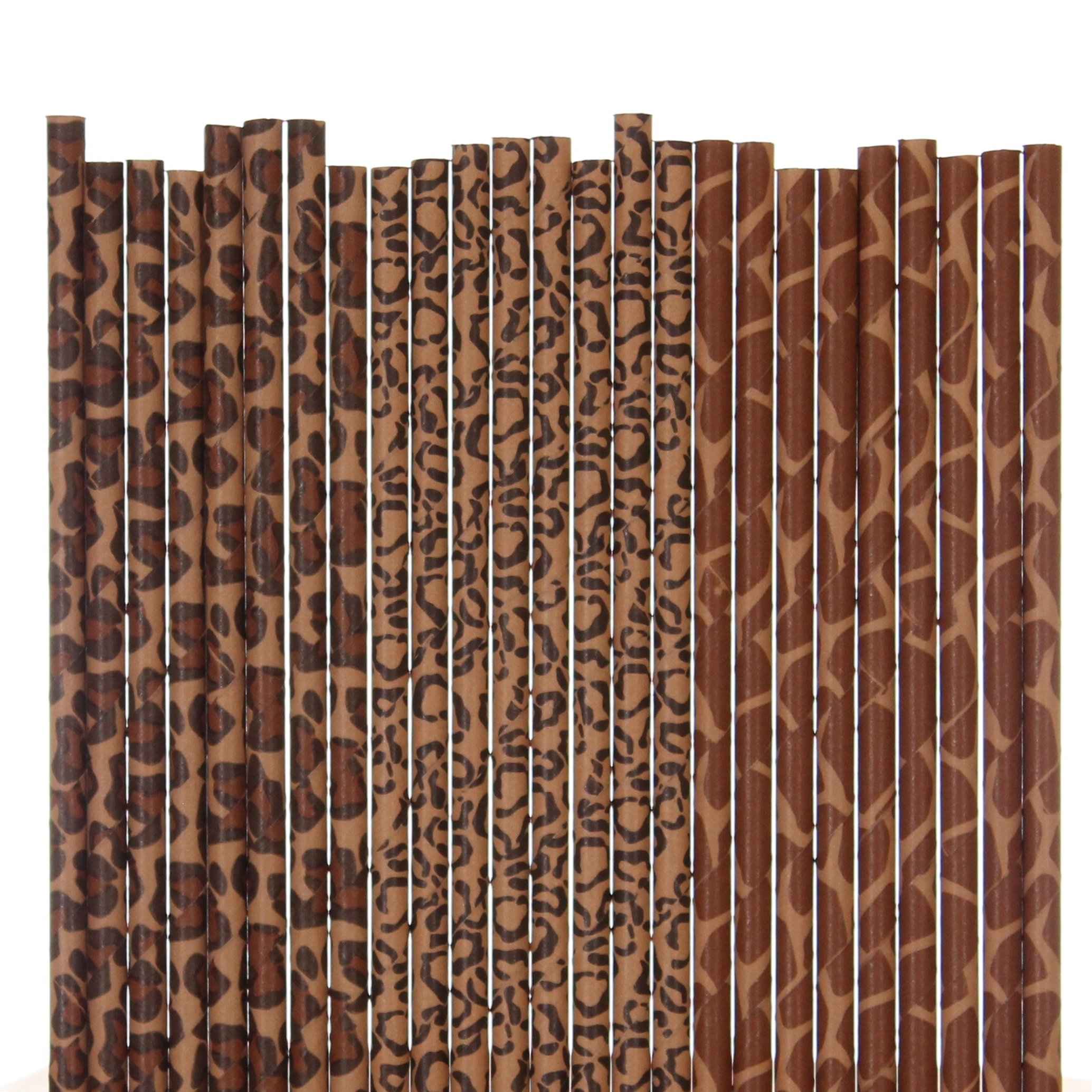 Biodegradable Paper Straws Mix, Animal Print, Giraffe Cheetah Leopard (75) by Eve's Party Market