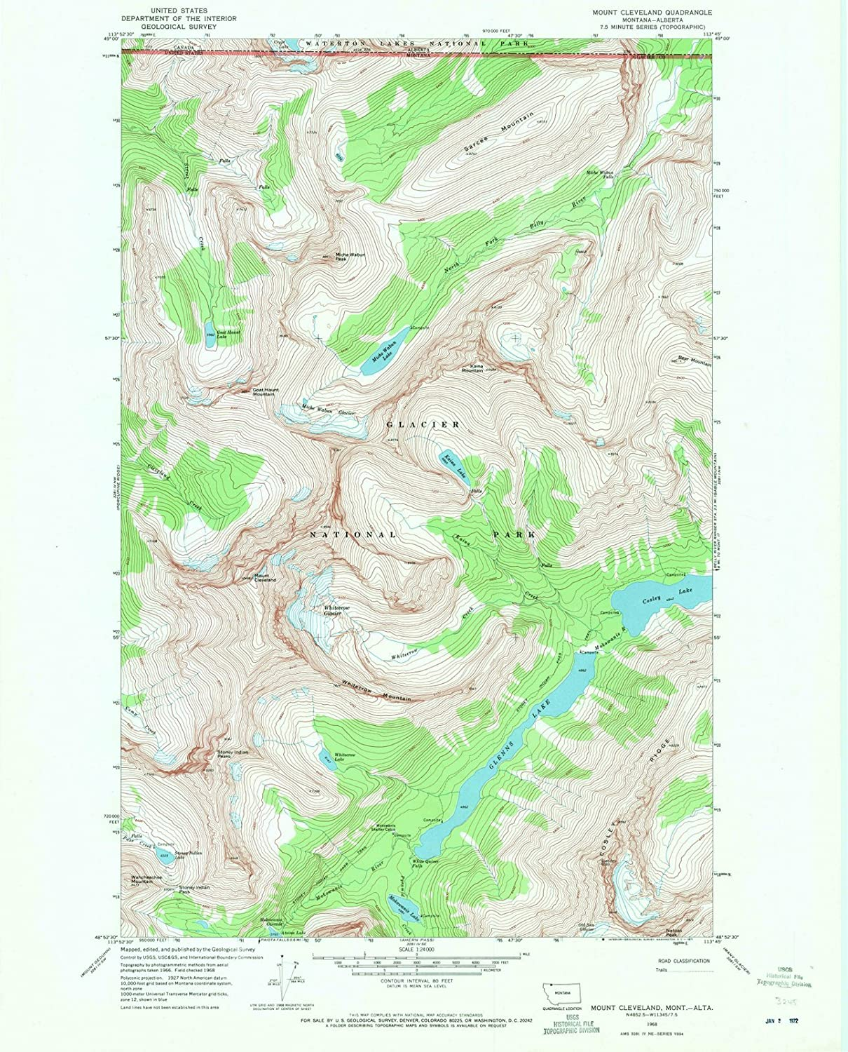Amazon.com: Montana Maps - 1968 Mount Cleveland, MT USGS ...