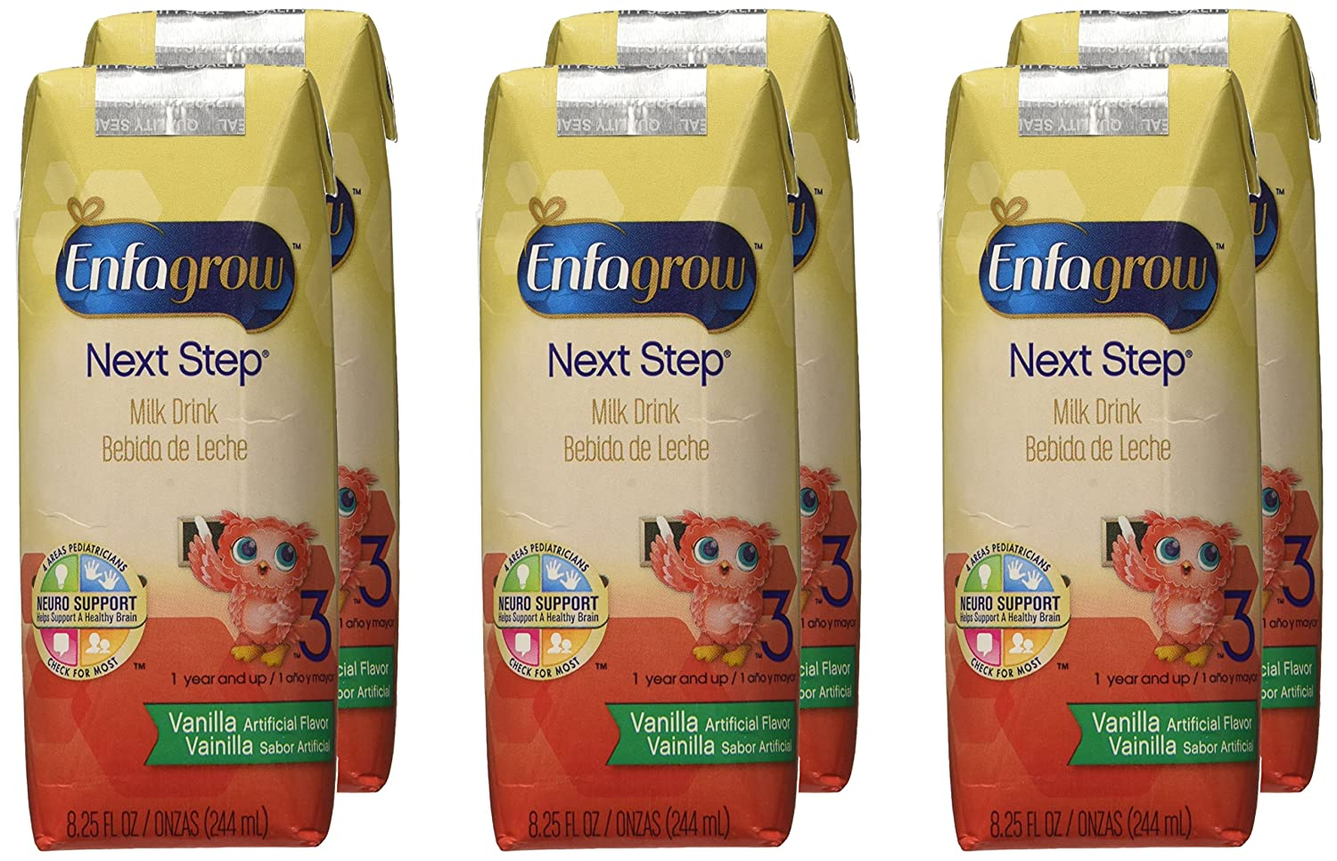 Enfagrow Toddler Next Step Toddler Milk Drink - Vanilla - Ready to Drink - 8.25 oz - 6 pk: Amazon.com: Grocery & Gourmet Food