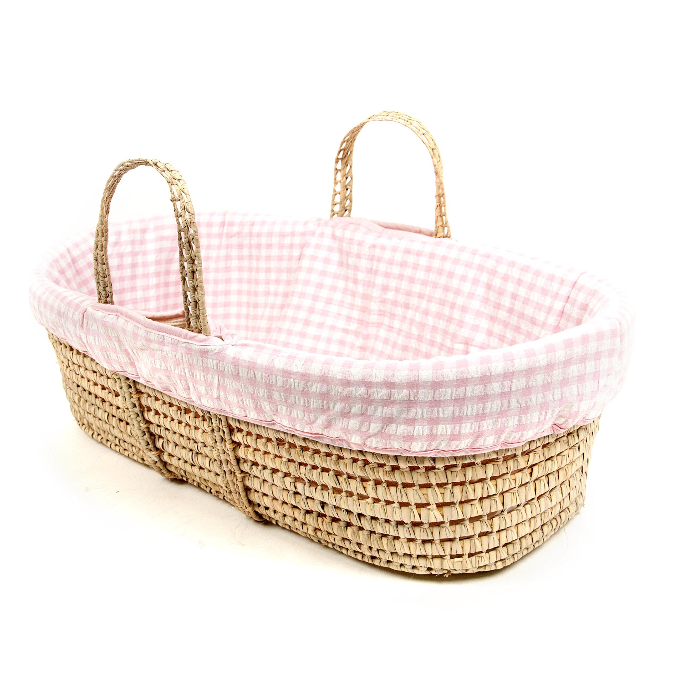 Tadpoles Moses Basket and Bedding Set, Pink Seersucker, one-size
