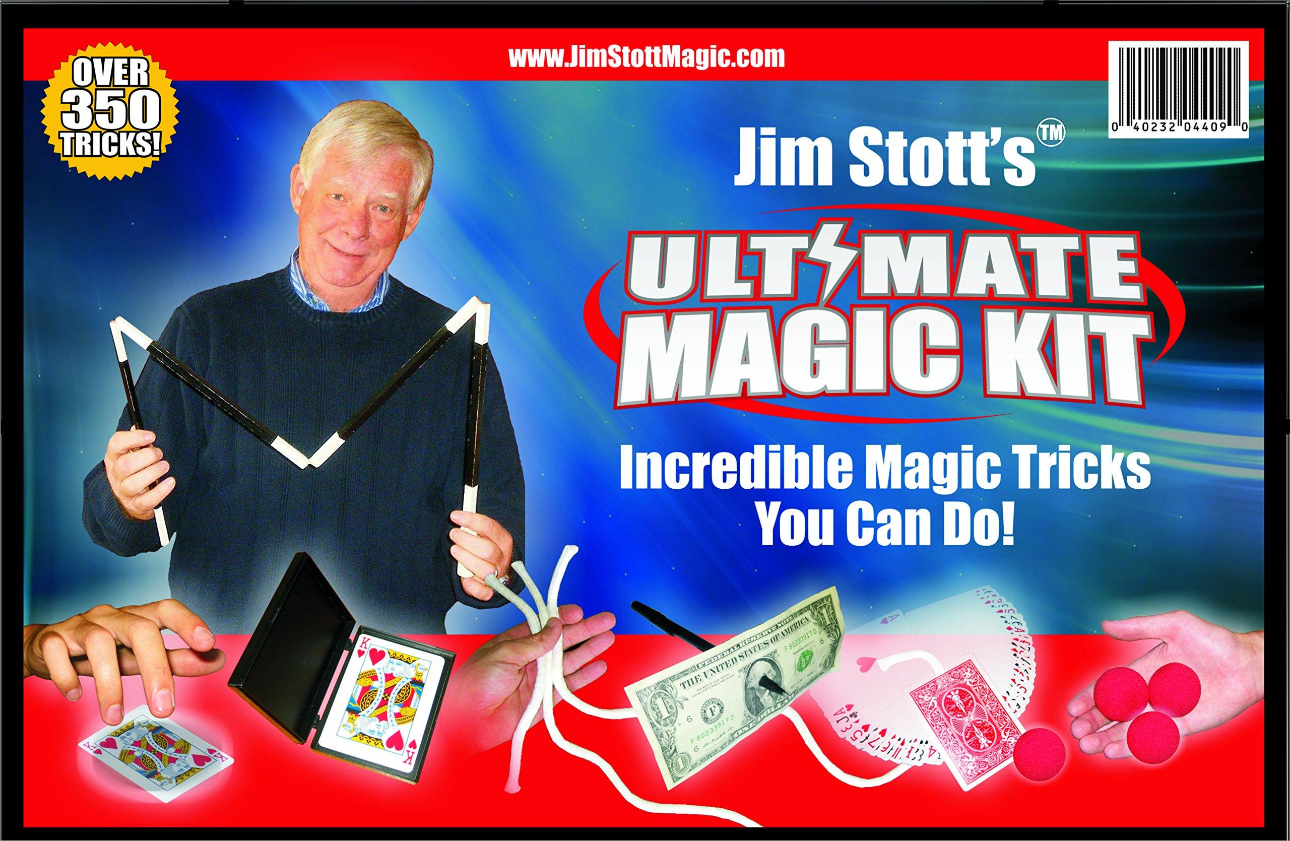 Jim Stott's 'Ultimate Magic Kit, Magic Tricks Set for Adults, Magic Cards Box, Svengali Card Deck, The 3 Rope Mystery, The Incredible Levitation System, Magic Sponge Balls, Magic Pen Penetration