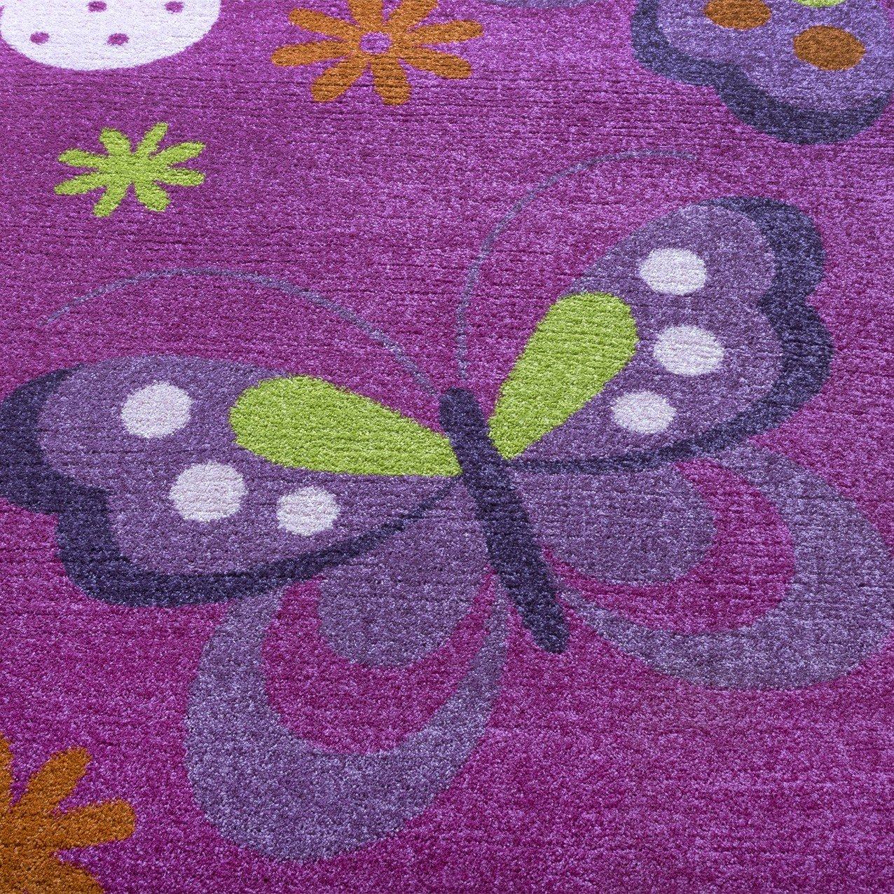 Kinderteppich schmetterling lila  Teppich Kinderzimmer Kinderteppich Schmetterling Muster Pink Lila ...