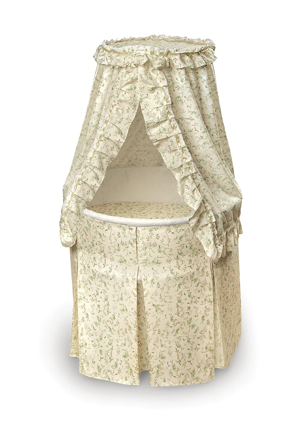Empress Round Baby Bassinet with Bedding, Pad, and Storage