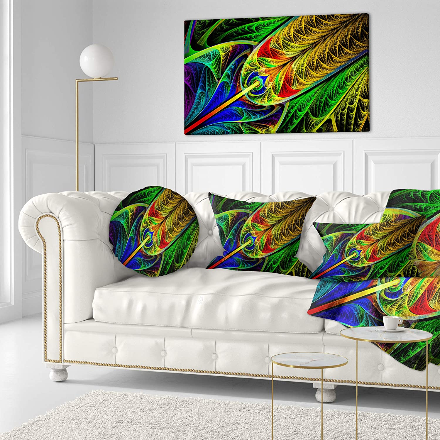 Designart CU15855-20-20-C Stained Glass with Glowing Designs Abstract Round Cushion Cover for Living Room Sofa Throw Pillow 20