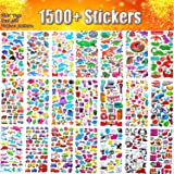 Stickers for Kids, 48 Sheets No Repeat 3D Puffy Sticker, 1500 +, Bulk Stickers for Girl Boy, Scrapbooking, Teachers, Toddlers, Including Cartoons, Animals, Cars, Fruits Vegetables