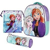 Mochila Infantil 3D, Estuche Escolar y Bolsa Merienda de Cuerdas Frozen 2 Diseño Exclusivo – Frozen | Mochilas Escolares…