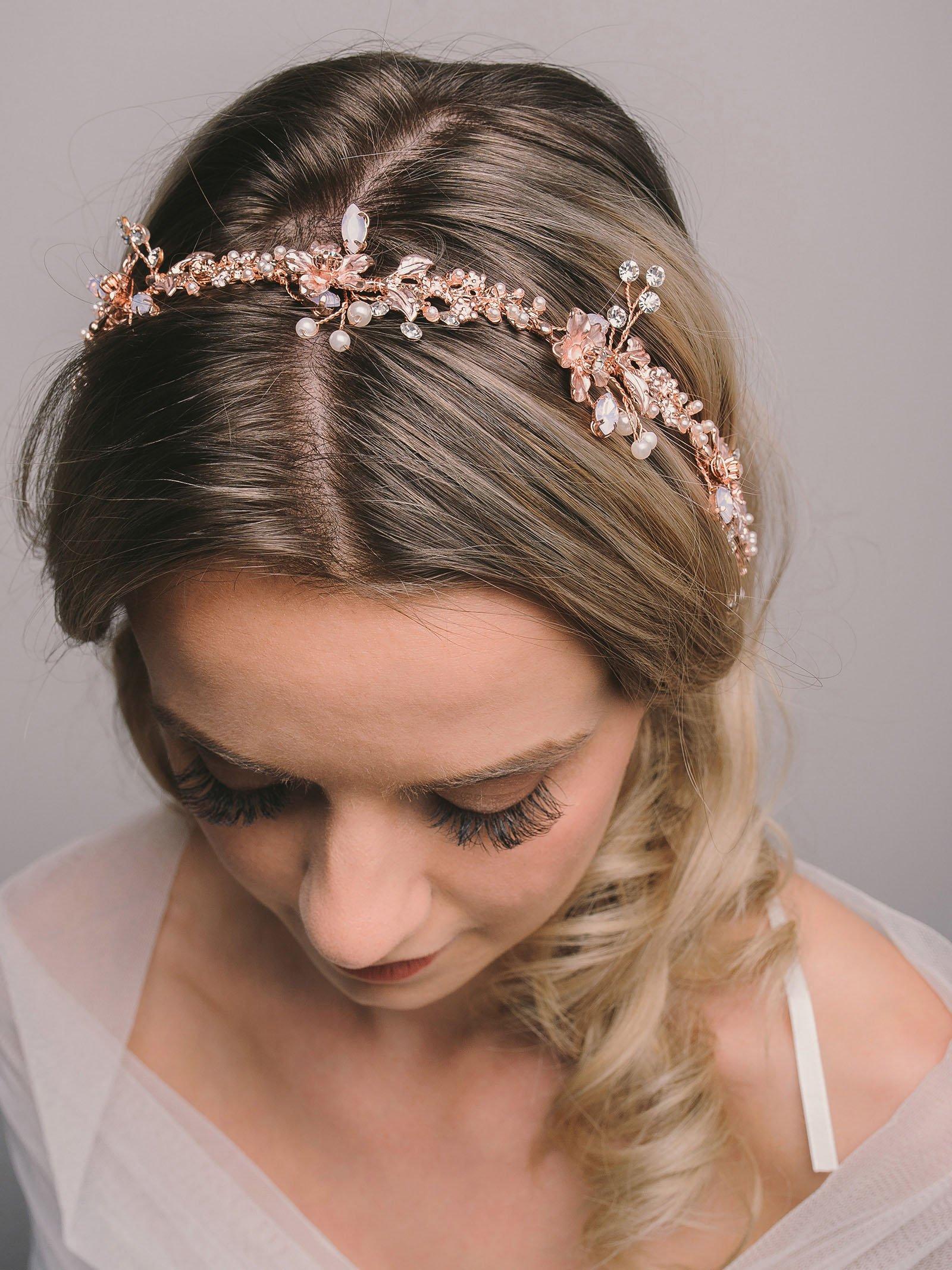 SWEETV Rose Gold Bridal Headband Tiara Wedding Vine Flower Halo Handmade Pearl Women Hair Accessories