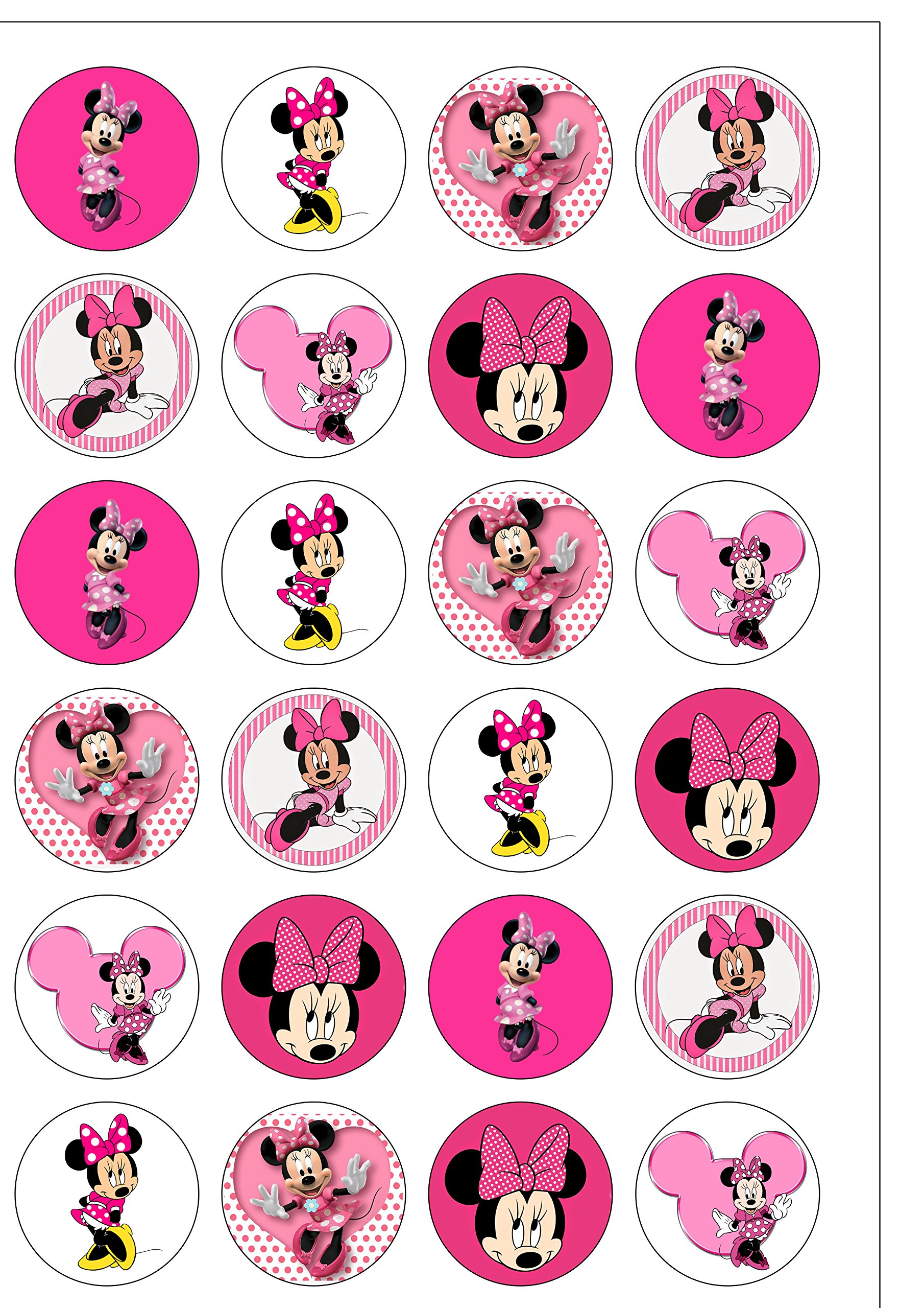 24 Precut 40mm Round Pink Minnie Mouse Edible Wafer Paper Cake Toppers