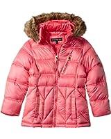 Steve Madden Girls' Puffer Jacket with Faux Fur Trimmed Hood