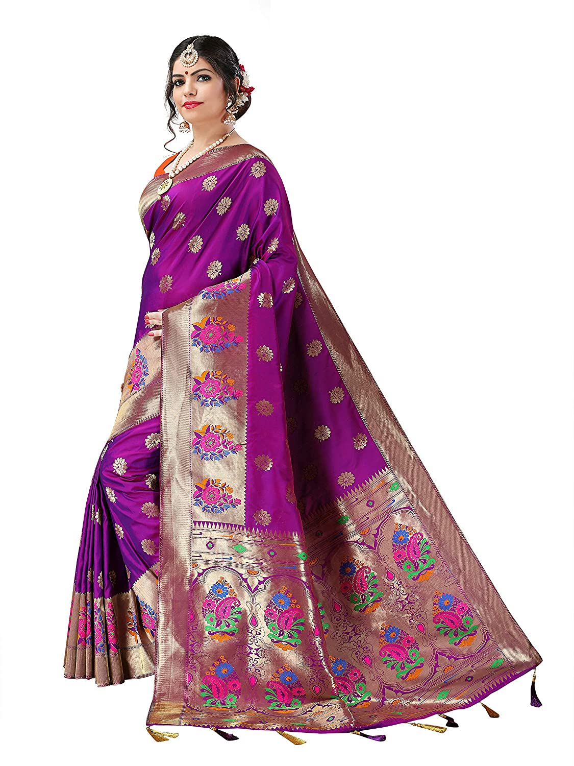 2bcb67fc9165fc Silky Sarees Women s Banarasi Silk Saree with Blouse Piece (1032 B ...