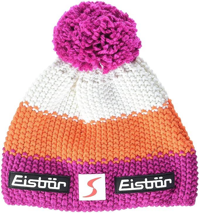 Gorro de marca Eisbär con pompon rosa neón para ski