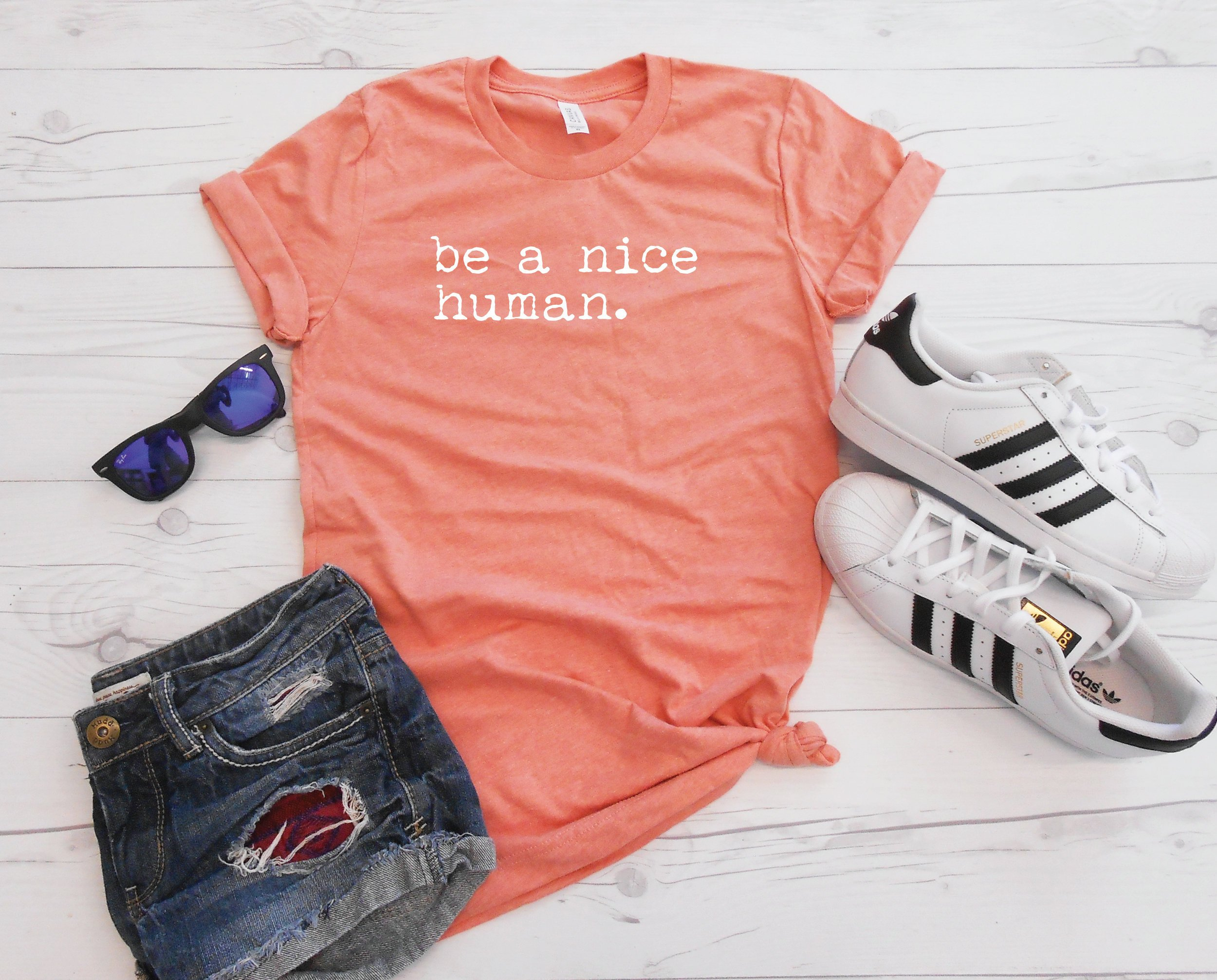 Be A Nice Human T-Shirt, Unisex Tee, Brunch Outfit, Womens Top, Workout Tee,