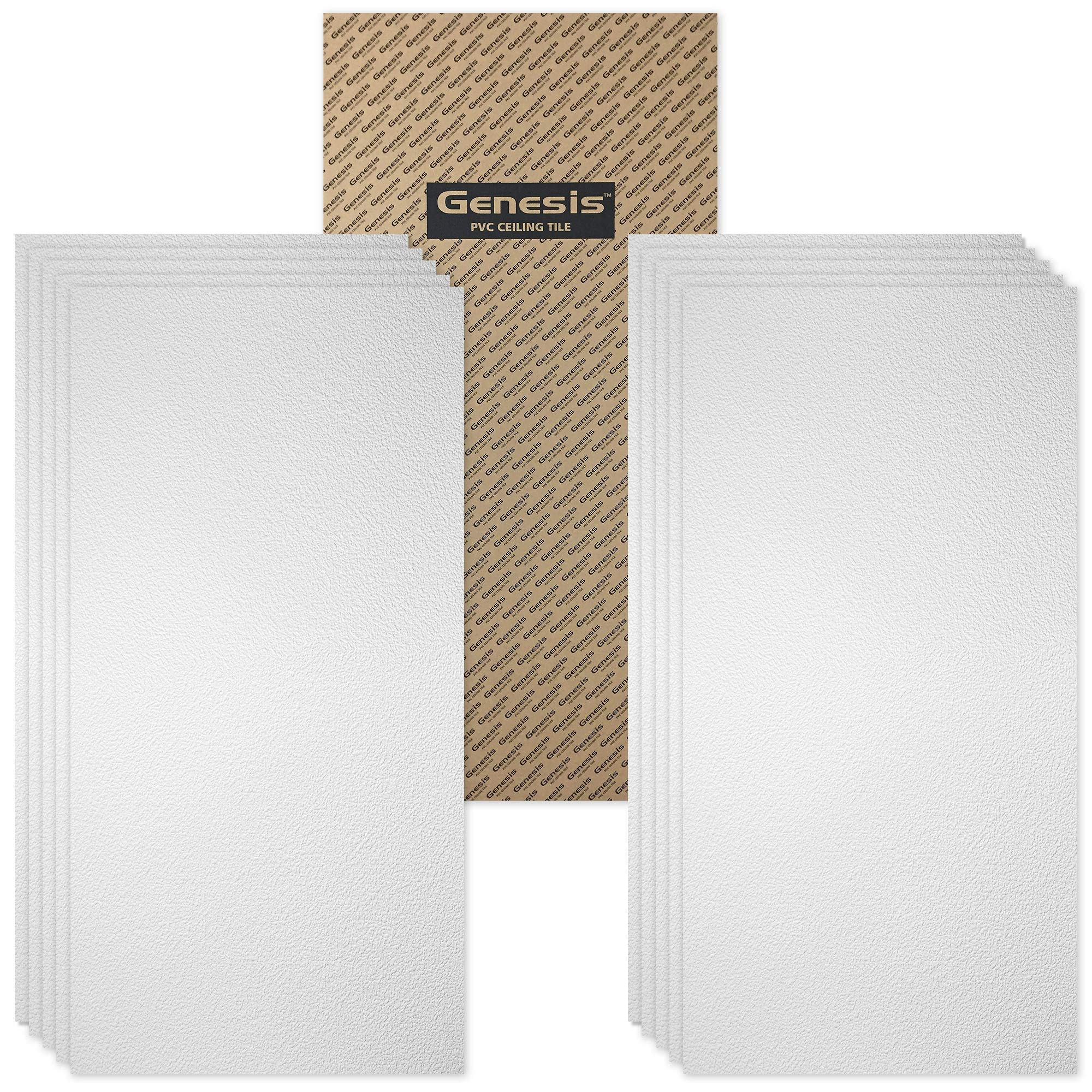 Genesis Fasade 2ft x 4ft Stucco Pro White Ceiling Tiles - Easy Drop-in Installation - Waterproof, Washable and Fire-Rated - High-Grade PVC to Prevent Breakage - Package of 10 Tiles by Genesis