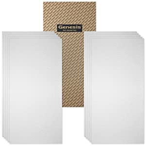 Genesis Fasade 2ft x 4ft Stucco Pro White Ceiling Tiles - Easy Drop-in Installation – Waterproof, Washable and Fire-Rated - High-Grade PVC to Prevent Breakage - Package of 10 Tiles