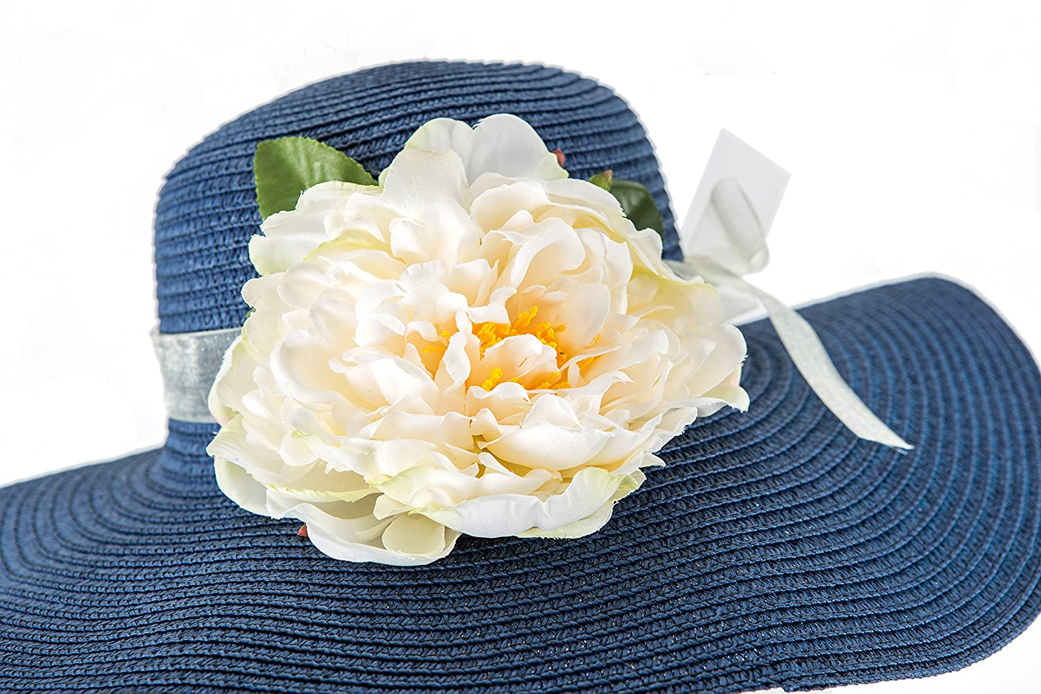 Tropic Beauty - Floppy Hat with Big White Peony Flower Jean Blue Bow  Kentucky Derby Race Church Wedding Beach Garden Party at Amazon Women s  Clothing store  24240535f932