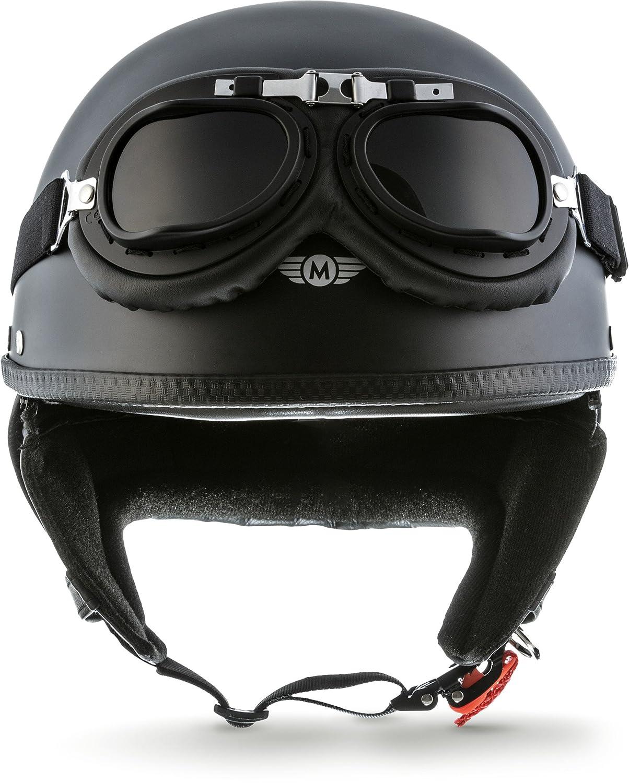 Moto Helmets, modello: D22-Set - Casco da moto jet, in fibra di vetro, colore: crema (giallo), stile vintage retro, per scooter, motorini, motocicli