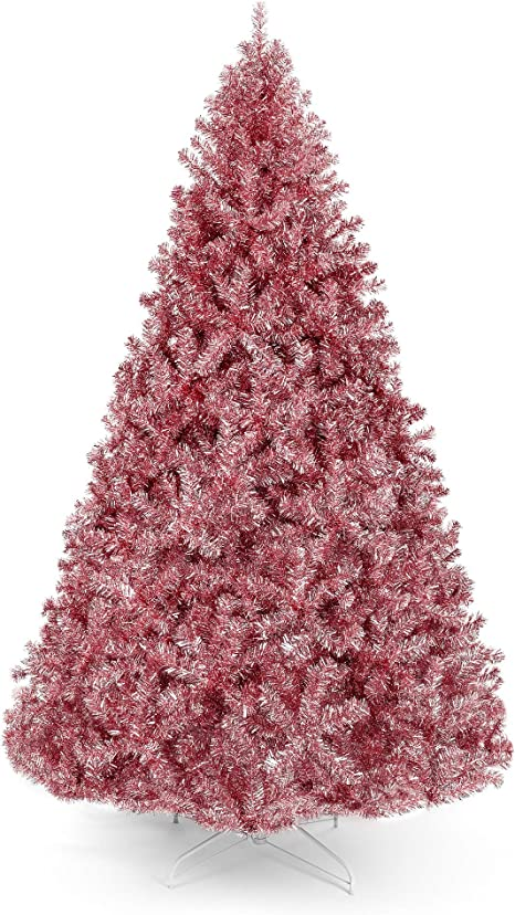 Amazon Com Best Choice Products 6ft Artificial Tinsel Christmas Tree Seasonal Holiday Decoration W 1 477 Branch Tips Foldable Stand Pink Home Kitchen