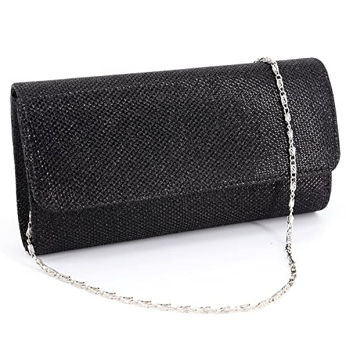 5a93cda160 Naimo Flap Dazzling Small Clutch Bag Evening Bag With Detachable Chain ( Black)