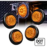 """ONLINE LED STORE 4PC 2"""" Round 10 LED Clearance Light [2 in 1 Reflector] [Polycarbonate Reflector] [10 LEDs] [D.O.T. Certified] [2 Year Warranty] Side Marker Light for Trucks and Trailers - Amber"""