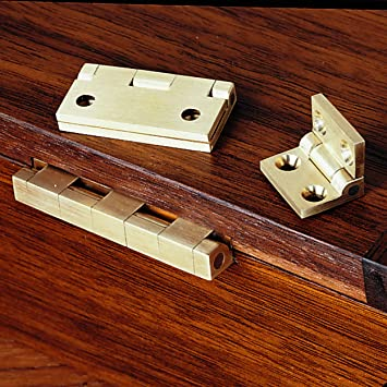 "PAIR OF SOLID BRASS 1/"" x 3//4/"" JEWELRY BOX  HINGES WITH SCREWS"